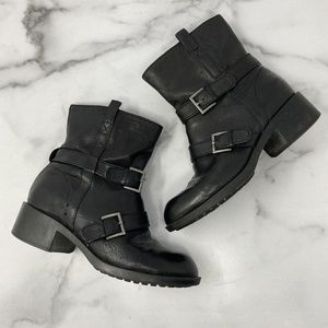 Cole Haan Nike Air Black Moto Boots Size 6.5